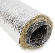 "25' x 5"", 5000 FPM, R-8 Insulation, Metalized Polyester Jacket, Double Ply Black Polyester Core, Flexible Air Duct"