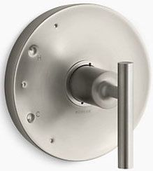 """6-1/2"""" x 5-7/16"""", Vibrant Brushed Nickel, Metal, Lever, Wall Mount, Shower Faucet Valve Trim"""