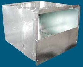 "20"" x 19"" x 24"", 28 Gauge Fabricated Galvanized Sheet Metal, Duct Plenum"