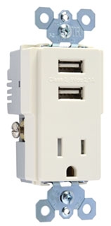PAS TM8-USB-LA (CC6) PAS DECORA COMBO 2-USB PORTS & SINGLE 15A 120V REC LA