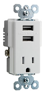 PAS TM8-USB-W (CC6) PAS DECORA COMBO 2-USB PORTS & SINGLE 15A 120V REC WH