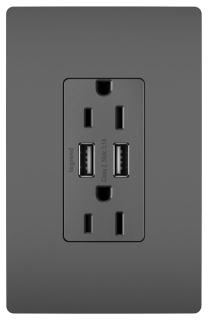 PAS TM826-USB-BK PAS DECORA COMBO 2-USB PORTS & DUPLEX 15A 120V REC BK
