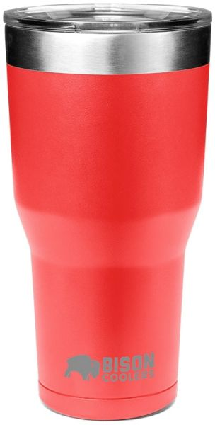 30 Oz, Powder Coated Red, 18/8 Stainless Steel, Double Wall Vacuum Insulated, Tumbler