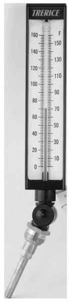 "3-1/2"" Stem, 30 to 240 Deg F, Blue Organic Spirit Angle Shank Universal Adjustable Glass Bulb Thermometer"