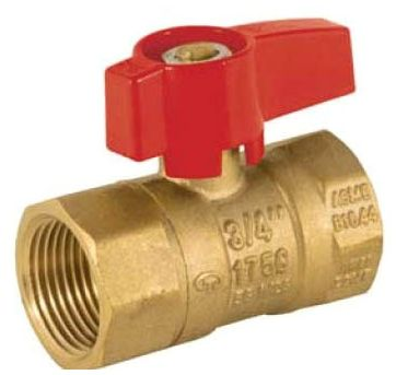 "1/2"", FPT x FPT, Brass, 175 PSIG, Reverse Operation Handle, 2-Piece Ball Valve"