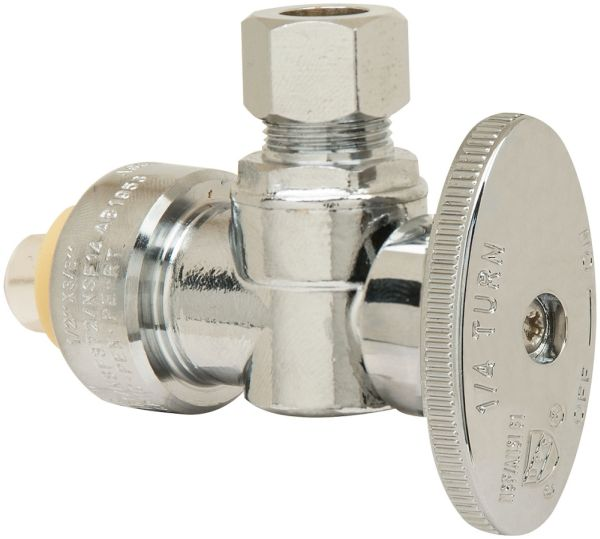 "1/2"" x 3/8"", Push-Connect x Compression, Lead-Free, Chrome Plated Brass, 1/4 Turn Oval Handle, Angle Stop Valve"