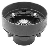 """3"""" Pipe, No Hub, 8-1/2"""", Dura Coated Cast Iron, Bottom Outlet, Deck Receptor, Roof Drain"""