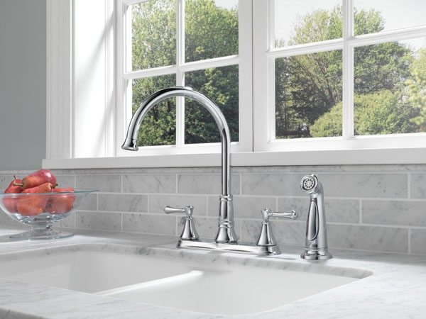 2497LF Chrome Delta Cassidy: Two Handle Kitchen Faucet With Spray