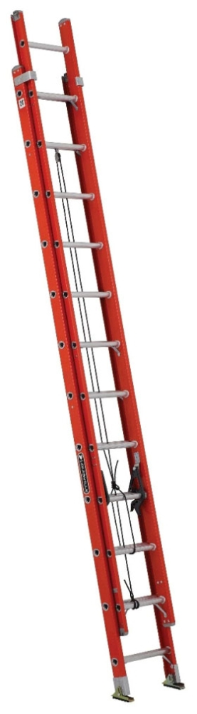 LOU FE3224 24ft F-GLASS EXTENSION LADDER ORG D-RUNG TYPE 1A 300LB CAPACITY