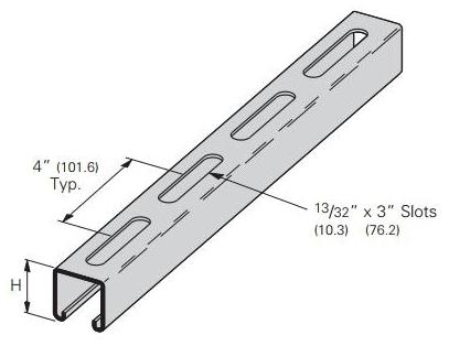 BLNS B22SHA-120GLV CHANNEL 1-5/8