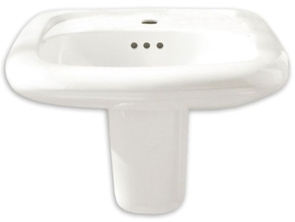 "21-1/4"" x 20-1/2"", White, Vitreous China, 3-Hole, Rectangle in Rectangle, Single Bowl, Wall Mount Bathroom Sink"