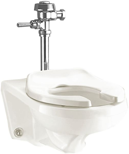 """14-3/4"""" x 25"""" x 16-1/8"""", 1.28 to 1.6 GPF, Rear Outlet, White, Vitreous China, Wall Mount, Elongated Bowl, Top Spud, Toilet"""