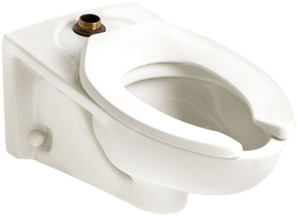 """15"""", 1.1 to 1.6 GPF, 13-1/8"""" Rough-In, Rear Outlet, White, Vitreous China, Wall Mount, Elongated, Toilet Bowl"""