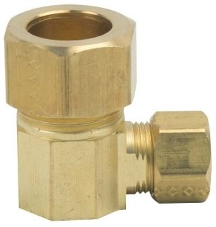 """5/8"""" x 3/8"""", Compression x Compression, Rough Brass, Reducing, Union, 90D Elbow"""