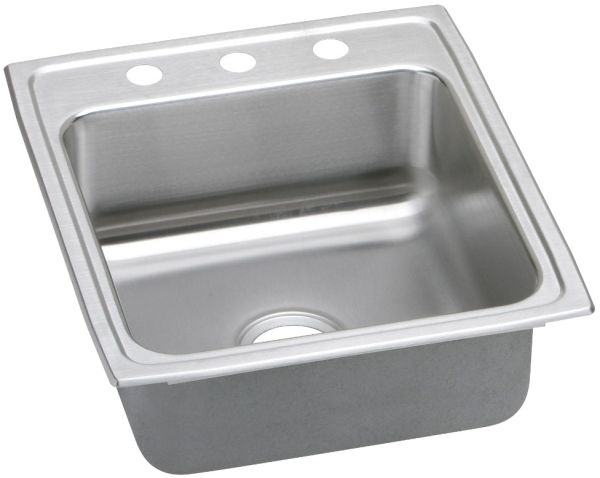 """19-1/2"""" x 22"""" x 4"""", Lustertone, 18 Gauge 304 Stainless Steel, 3-Hole, Top Mount, Square in Rectangle, Single Bowl, Kitchen Sink"""
