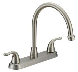 """10-1/16"""" L x 10-5/8"""" H x 5-3/8"""" Clearance x 8-5/16"""" Reach, 1.5 GPM, Stainless Steel, Two Handle, Deck Mount, Kitchen Sink Faucet"""