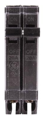 GE THQP220 20A 2P 120V PLUG-IN CB 10KAIC GEDTHQP220