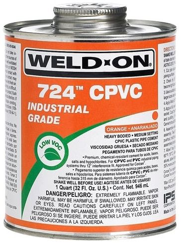 1 Quart, Can, Orange, CPVC, Heavy, Weld On® 724™ Solvent Cement