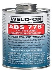 1 Quart, Can, Black, ABS, Medium, Weld On® 778™ Solvent Cement