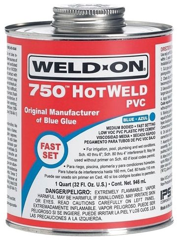 1/2 Pint, Can, Blue, PVC, Medium, Weld On® 750™ Solvent Cement