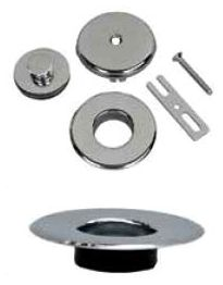 Satin Nickel, Bath Waste and Overflow Press-In Trim Kit W/Push and Lift Stopper