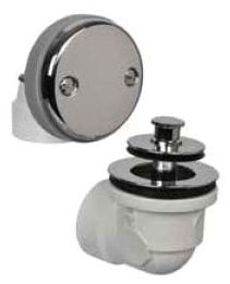 Chrome Plated, ABS, Push and Lift Stopper, 2-Hole, Bath Waste and Overflow Half Kit