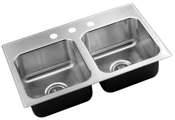 """29"""" x 18"""" x 7-1/2"""", Polished, 18 Gauge Seamless 304 Stainless Steel, 3-Hole, Top Mount, Square in Rectangle, Double Bowl, Drop-In, Kitchen Sink"""