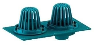 "3"" x 3"" Pipe, No Hub, 18-7/8"" x 10-5/8"" Top, Cast Iron, Combination, Bottom Outlet, Roof Drain"