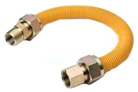 "1/2"" x 1/2"" x 36"", MPT x FPT, Yellow Epoxy Coated Stainless Steel, Gas Appliance Connector"