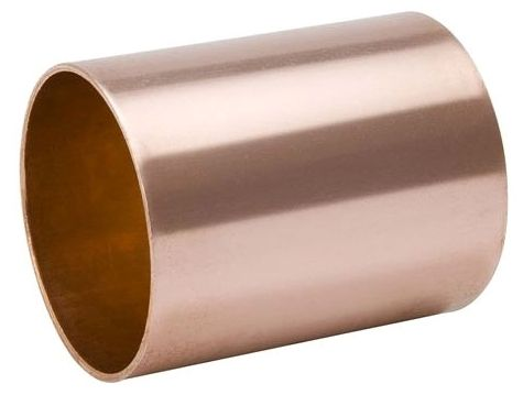 """5"""" x 5"""", C x C, Wrot Copper, Staked Stop, Straight Coupling"""