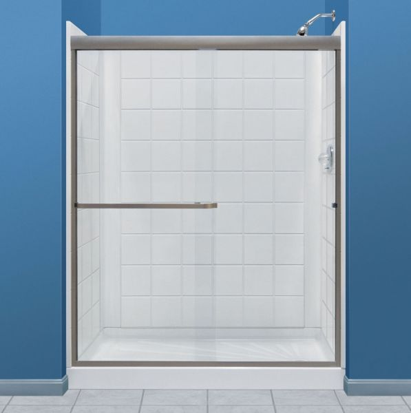 "60"" x 34"", White, Molded Fiberglass, 5-Piece, Rectangle, Alcove, Shower Wall"