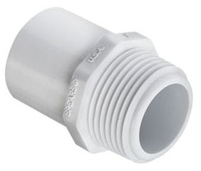 "1"" x 1"", Spigot x MPT, White, Molded PVC, 40S, Male, Straight Adapter"