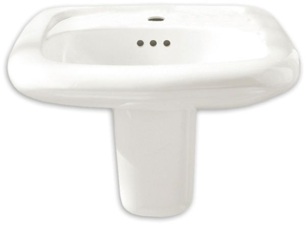 """22-11/16"""" x 21-7/16"""" White Vitreous China 3-Hole Rectangle in Rectangle Single Bowl Wall Mount Bathroom Sink"""