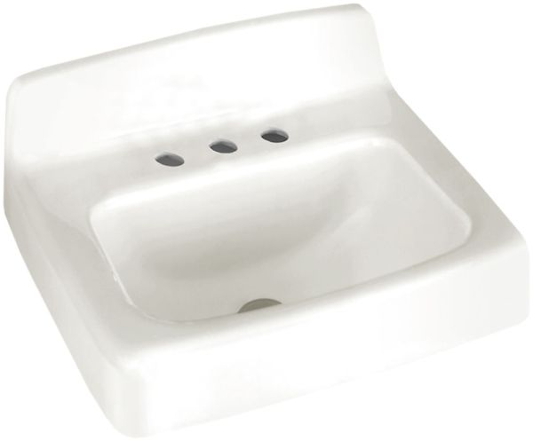 "17"" x 19"" x 11-5/8"" White Glossy Porcelain Enameled Cast Iron 3-Hole Rectangle in Rectangle Single Bowl Wall Mount Bathroom Sink"