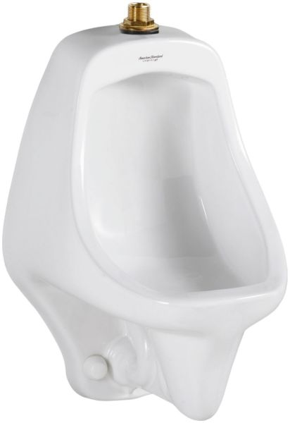 "14-5/16"" x 14-5/16"" x 21-1/2"" 0.5 to 1 GPF White Vitreous China Top Spud Inlet Universal Flushing Rim Urinal"
