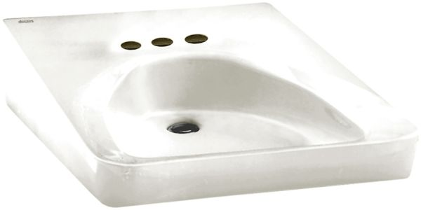 "27"" x 20"" White Vitreous China 1-Hole D in Rectangle Single Bowl Wall Mount Bathroom Sink"