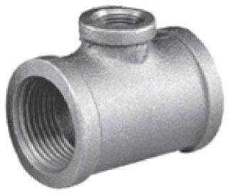 """2"""" x 1-1/2"""" x 3/4"""" FPT x FPT x FPT Black Malleable Iron Reducing Tee (Imported)"""