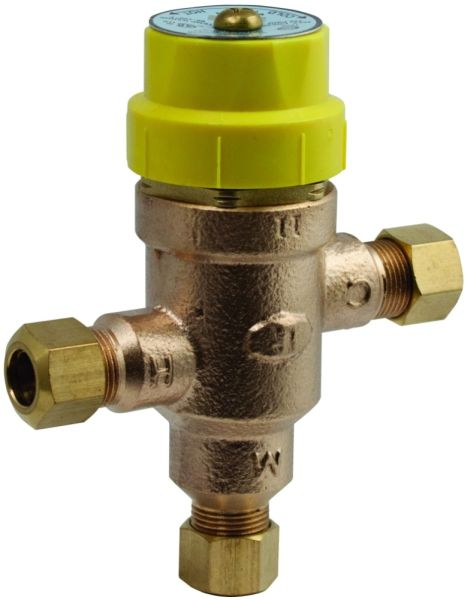 "3/8"" Compression x Compression Bronze Thermostatic Mixing Valve"
