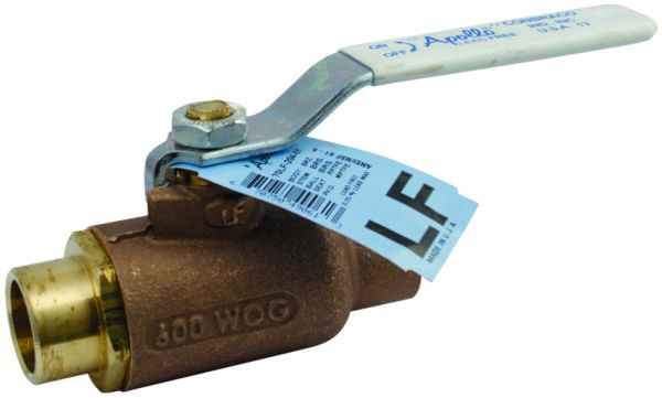 "1"" Soldered x Soldered Chrome Plated Brass Ball Bronze Body Standard Port 1/4 Turn Lever Handle 2-Piece Ball Valve"