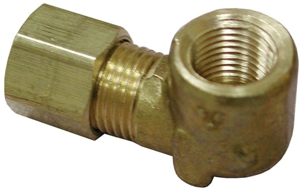 """3/8"""" x 1/2"""" Compression x FPT Brass 90D Elbow"""