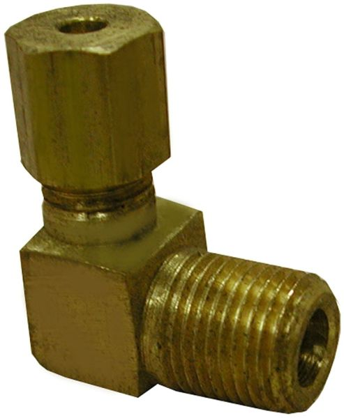 """1/4"""" x 3/8"""" Compression x MPT Brass 90D Elbow"""