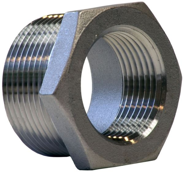 "1"" x 1/2"" Cast Stainless Steel Hex Head Reducing Bushing - MPT x FPT, 150 psi, 304 Cast Stainless"