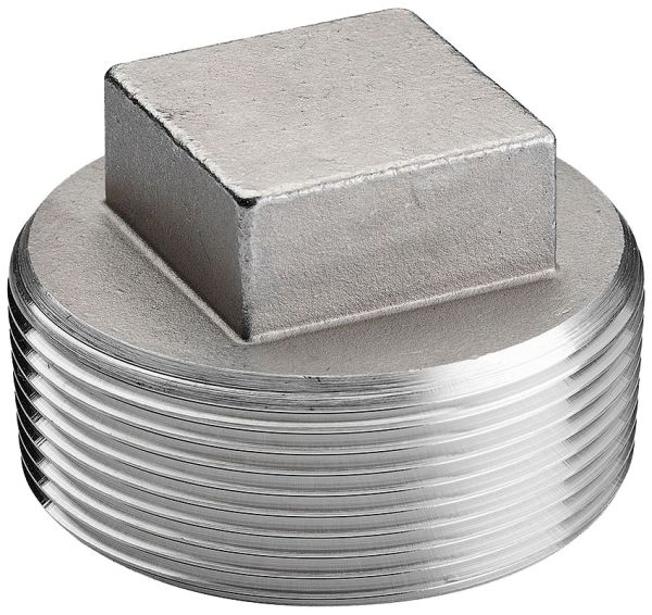 "2"" Stainless Steel Square Head Cored Plug - MPT, 150 psi, 304 Stainless"