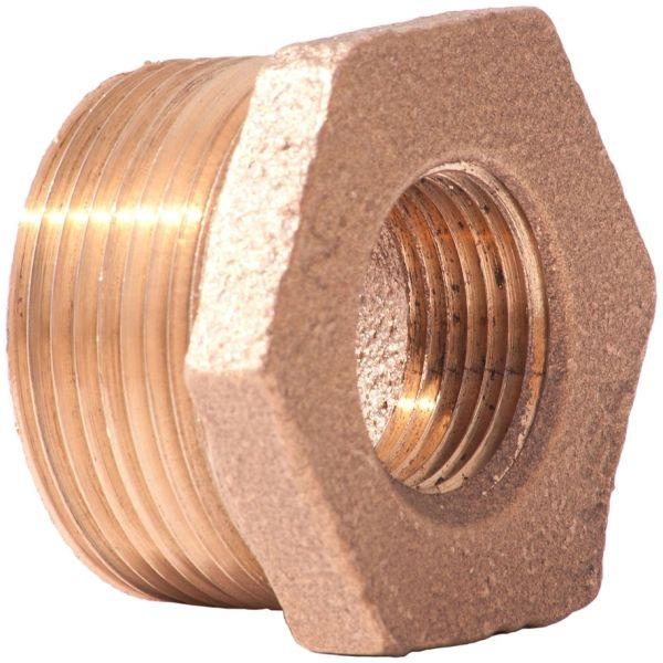 "2-1/2"" x 2"" Brass Hex Head Reducing Bushing - MPT x FPT, 125 psi, Lead Free, Domestic"