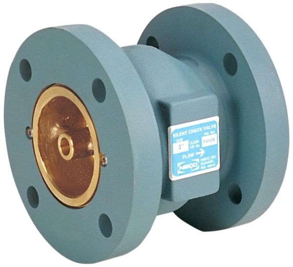 """4"""" Flanged x Flanged Cast Iron In-Line Globe Silent Spring Actuated Check Valve"""