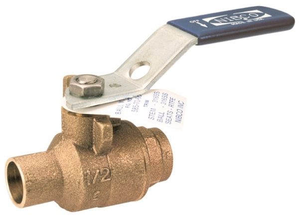 """1-1/2"""" C x C Stainless Steel Ball DZR Bronze Alloy Body Full Port Insulated T-Handle 2-Piece Ball Valve"""