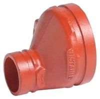 """6"""" x 4"""" Grooved x Grooved Orange Enamel Carbon Steel 40S Eccentric Reducer"""