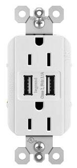 PAS TM826-USB-W (CC6) PAS DECORA COMBO 2-USB PORTS & DUPLEX 15A 120V REC WH