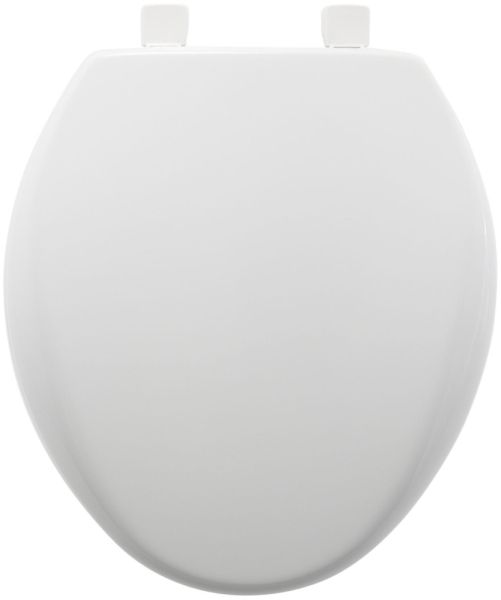"14-3/8"" x 16-1/4 to 16-3/4"" White Plastic Adjustable Closed Front Round Toilet Seat"