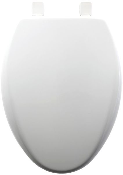 "14"" x 18-1/4 to 18-3/4"" White Plastic Adjustable Closed Front Elongated Toilet Seat"